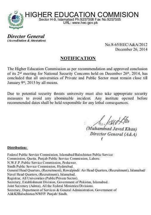 Winter Vacations Notification