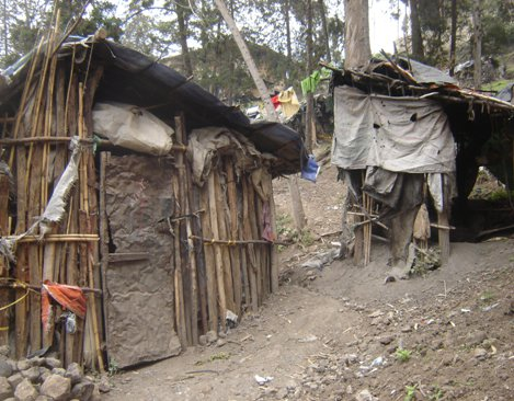 People affected by leprosy living in poverty housing