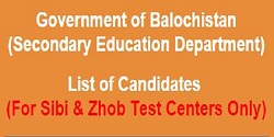 NTS Roll Number Slip for secondary education test (Sibi and Zhob centers)