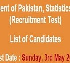 NTS Roll Number Slip for Government of Pakistan, Statistics Division