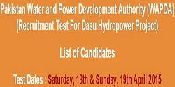 NTS Roll Number Slip for WAPDA Dasu Hydropower Project 2015