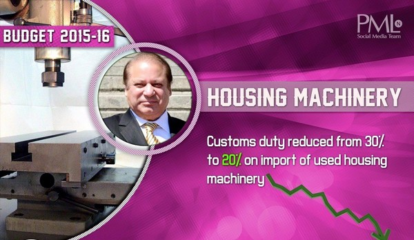 Budget 2015-16 Housing Machinery
