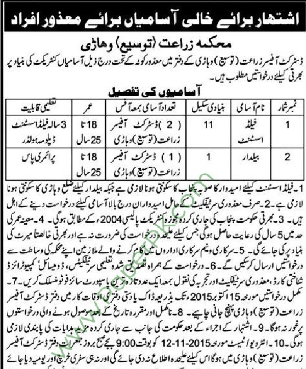 jobs in agriculture department vehari