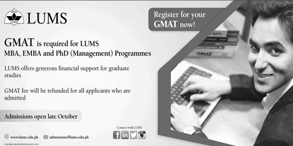 LUMS GMAT Registration open