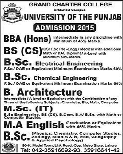 admission open in grand charector collerge affiliated with university of punjab 2015-16