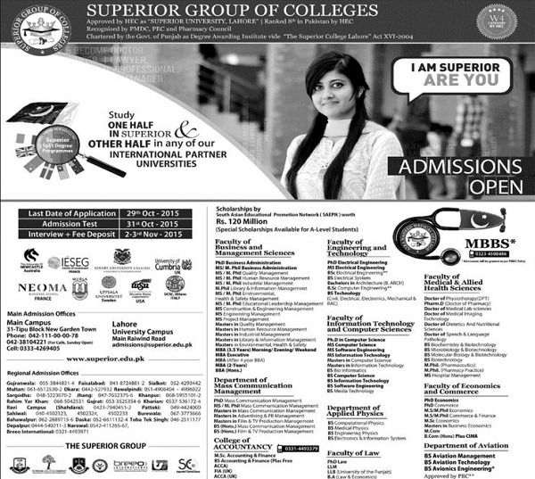 Admission Open in Superior Group of Colleges 2015