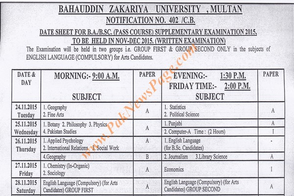 Download BZU Date Sheet for B.A B.Sc Supplementary Exam 2015