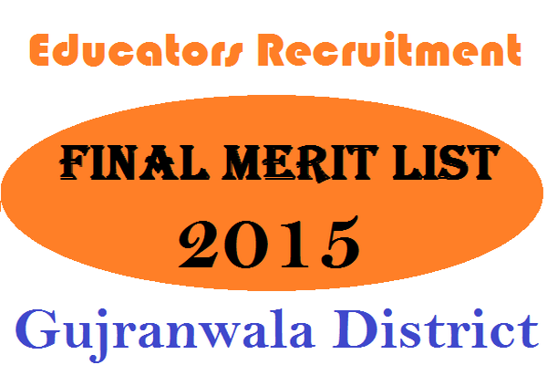 Educators Final Merit Lists of Gujranwala District 3rd Nov 2015