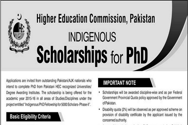 HEC Pakistan Indigenous Scholarships Phase II, Batch III 2015 for PhD Ad