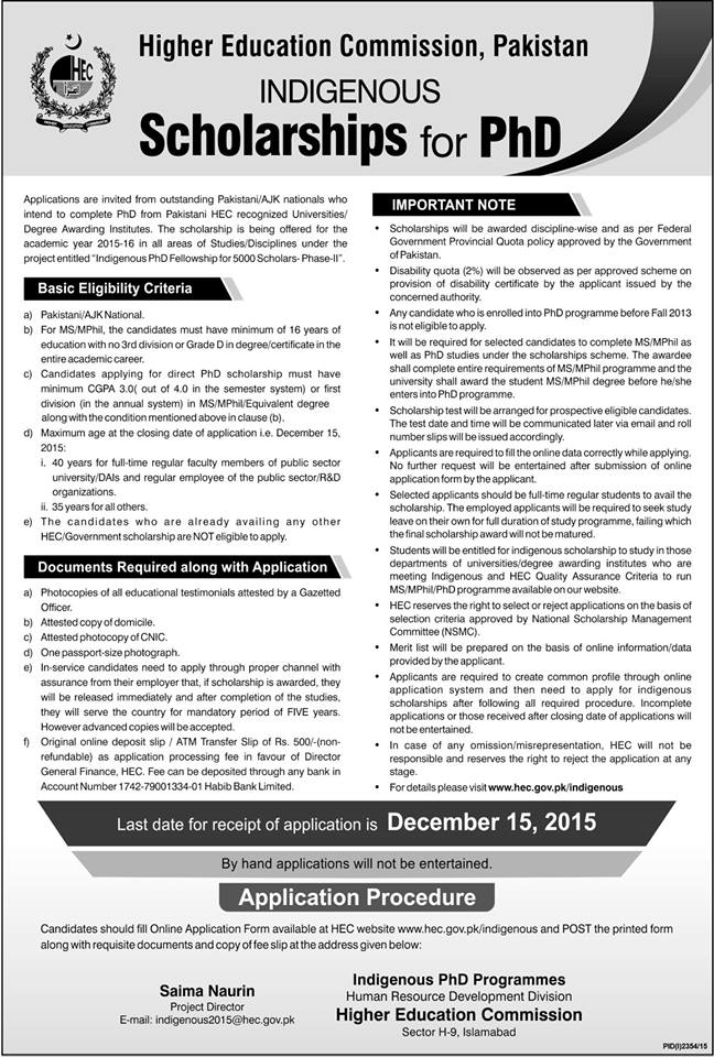 HEC Pakistan Indigenous Scholarships 2015 for PhD
