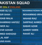 Pakistani Squad for ODIs vs England Series 2015