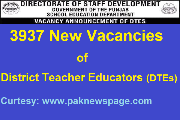 3937 Job Vacancies of DTEs announced on 5-8-16