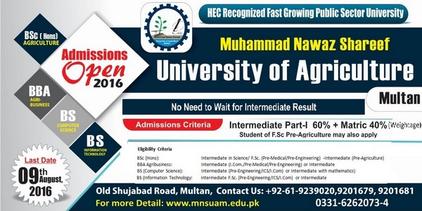 Admissions open for UG Courses at MNS University of Agriculture Multan for Session 2016-17