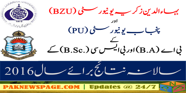 BA B.Sc annual Examination 2016 Result