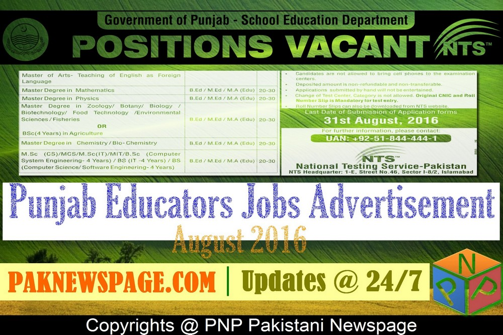 Download Advertisement of Punjab Educators Jobs August 2016-2017