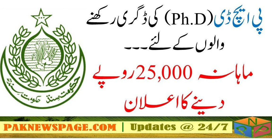 Sindh Government 25000 Monthly Allownace for PhD