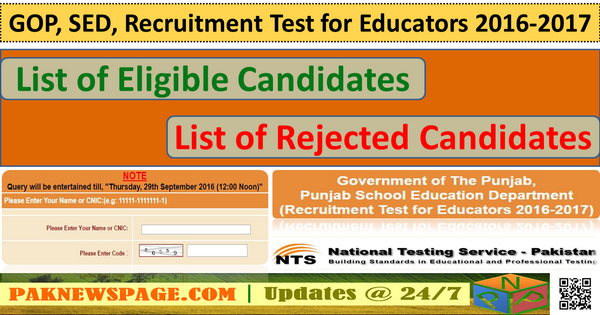 List of Rejected Candidates for Educators NTS Test 2016-17