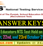Answer Keys for Educators NTS Test 21st, 22nd, and 23rd October 2016