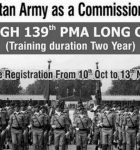Join Pak Army Through 139 PMA Long Course from 10th October to 23rd November 2016
