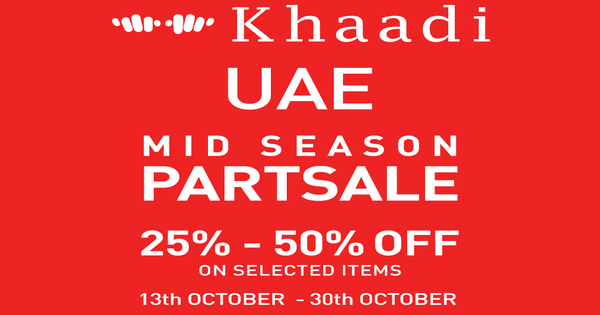 Khaadi MID SEASON SALE from 13 Oct to 30-Oct, 2016 starts today