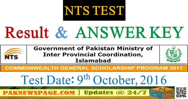 Commonwealth Scholarship Test 09-10-2016 Answer Key by NTS