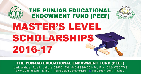 Apply for PEEF Master Level Scholarships 2016-17