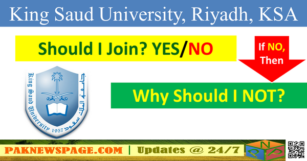Either I Should Join the King Saud University for my Higher Studies or NOT?