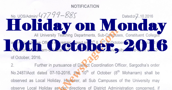 District Govt announces local Holiday on Monday 10th October, 2016