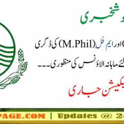 Notification of Grant of Ph.D and M.Phil allowance to Government Employees