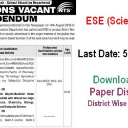 PSED and NTS Invites Application for ESE (Sci-Math) Before December 5, 2016