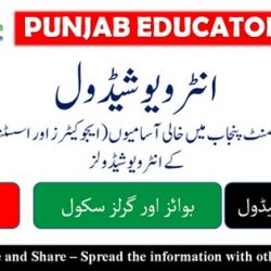 District Jhang: Interview Schedule for Educators Recruitment 2016-2017
