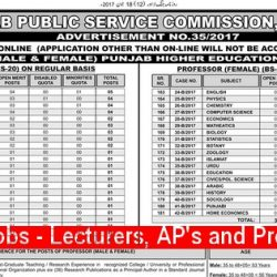 PPSC Announces Jobs for Lecturers, Assistant Professors and Professors