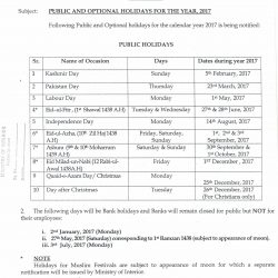 Interior Ministry Notification Annual Holidays 2017