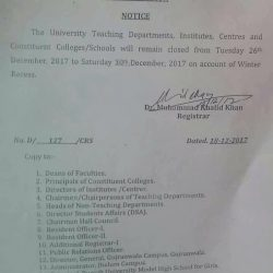 Punjab University Winter Vacations Notification Issued